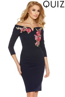 Quiz Embroidered Bardot Midi Dress