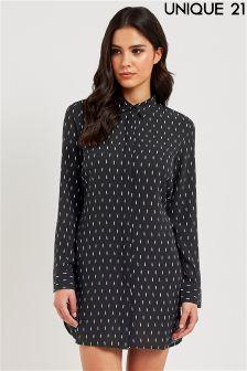 Unique 21 Feather Print Shirt Dress
