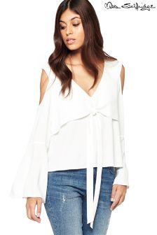Miss Selfridge Tie Front Cold Shoulder Blouse