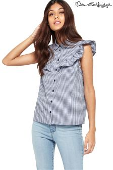 Miss Selfridge Gingham Ruffle Shirt