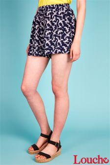 Louche Bird Print Drawstring Shorts