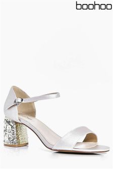 Boohoo Embellished Block Heeled Sandals