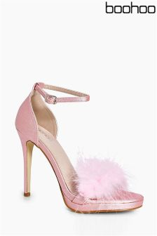Boohoo Feather Trim Two Part Sandals