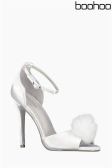 Boohoo Satin Peeptoe Pom Trim Court