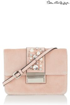 Miss Selfridge Table Velvet Pearl Bag
