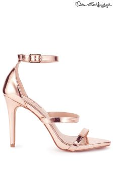 Miss Selfridge Metallic 3 Bar Barely There Heels