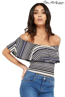 Miss Selfridge Petite Stripe Bardot Body