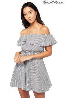 Miss Selfridge Petite Stripe Bardot Ruffle Dress