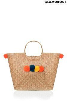 Glamorous Pom Pom Straw Weave Bag