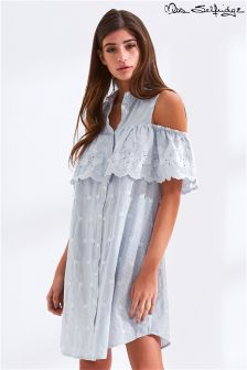 Miss Selfridge Stripe Embroidered Cold Shoulder Shirt Dress