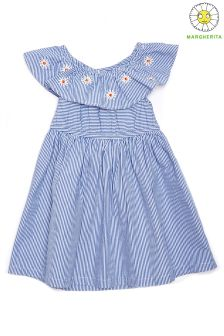 Margherita Kids Stripe Daisy Embroidery Dress