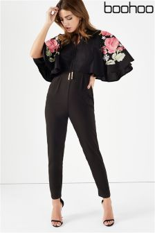 Boohoo Embroidered Sleeve Jumpsuit
