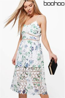Boohoo Floral Lace Midi Skater Dress