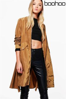 Boohoo Longline Zip Through Parka