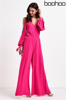 Boohoo Cold Shoulder Split Sleeve Jumpsuit