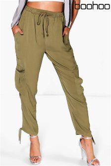 Boohoo Pocket Side Woven Utility Trousers