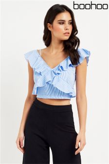 Boohoo Ruffle Trim Crop Top