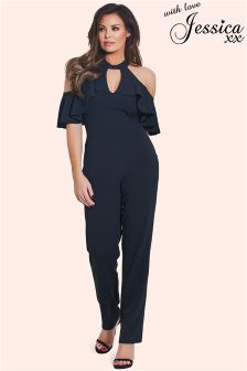 Jessica Wright Cold Shoulder Frill Jumpsuit