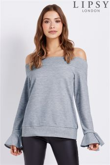Lipsy Bardot Tie Sleeve Sweat Top