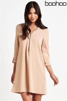 Boohoo Zip Front Shirt Dress
