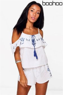 Boohoo Beach Floral Embroidered Beach Co-Ord