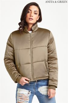 Anita & Green Sateen Cropped Puffer Jacket