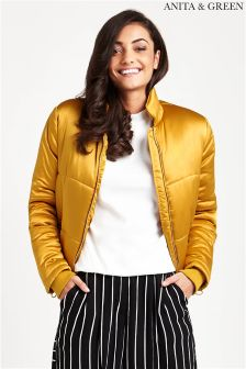 Anita & Green Sateen Look Cropped Puffer Jacket