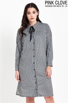 Pink Clove Curve Gingham Midi Shirt Dress