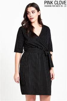 Pink Clove Curve Stripe Wrap Midi Dress