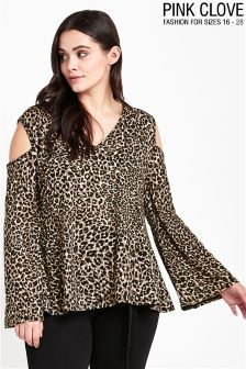 Pink Clove Curve Leopard Print Cold Shoulder Top
