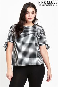 Pink Clove Curve Gingham Tie Arm Top