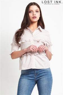 Lost Ink Shirred Waist Detail Shirt