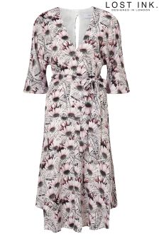 Lost Ink Daisy Print Dress