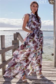 Lost Ink Ruffle Print Maxi Dress