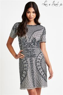 Lace & Beads Embellished Short Sleeve Mini Dress