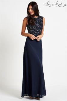 Lace & Beads Embellished Prom Maxi Dress