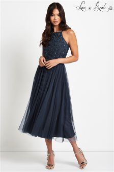 Lace & Beads Embellished Midi Prom Dress