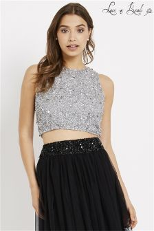 Lace & Beads Embellished Crop Top