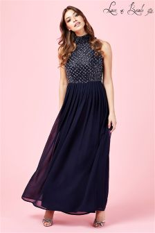 Lace & Beads High Neck Embellished Prom Maxi Dress