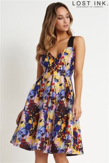 Lost Ink Printed Cross Back Eyelet Dress