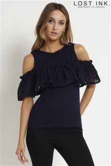 Lost Ink Lace Frill Bardot