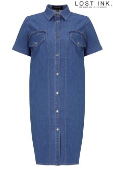 Lost Ink Denim Shift Dress