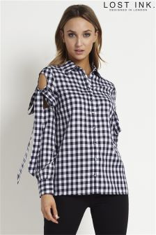 Lost Ink Bow Check Shirt