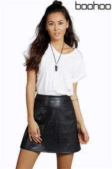 Boohoo Leather Look A-line Mini Skirt