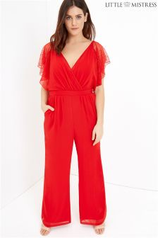 Little Mistress Curve Chiffon And Lace Jumpsuit