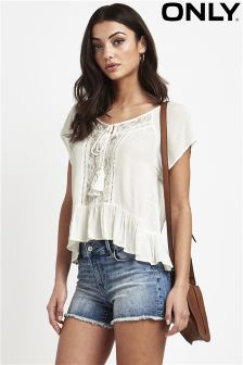 Only Lace Detail Frill Hem Top