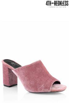 4th & Reckless Velvet Block Heel Mules
