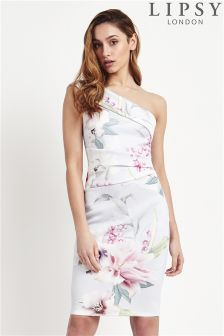 Lipsy One Shoulder Floral Printed Dress