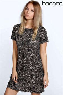 Boohoo Ebony Printed Shift Dress