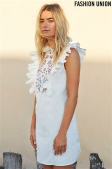 Fashion Union Embroidered Frill Shift Dress